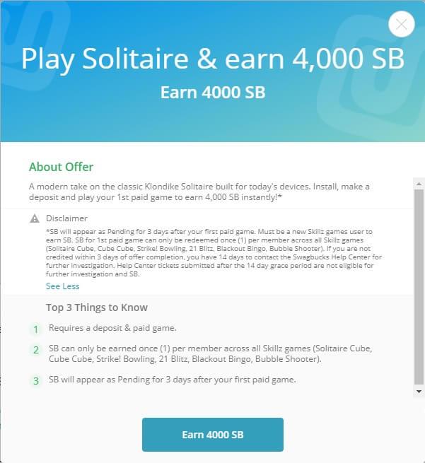 Swagbucks Chime 10,000 SB offer details pop-up
