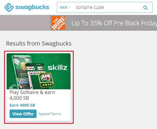 Swagbucks Solitaire Cube 4,000 SB offer