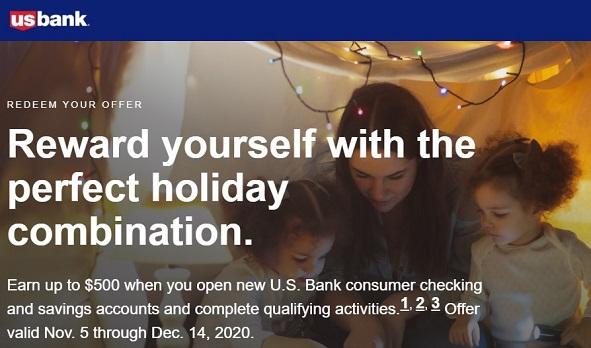 U.S. Bank $500 checking + savings account bonus offer banner