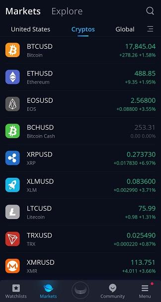 Webull cryptos price overview