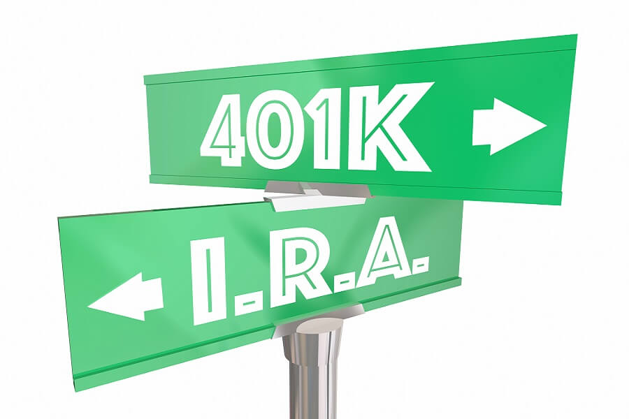 401K vs IRA opposing street signs