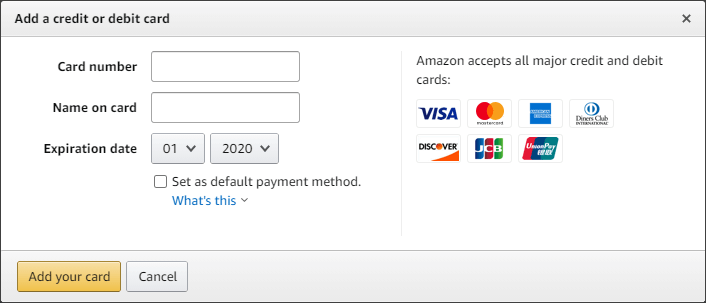 Adding a credit card on Amazon