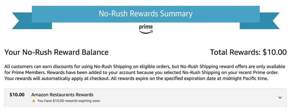 Amazon No-Rush Rewards Summary dashboard