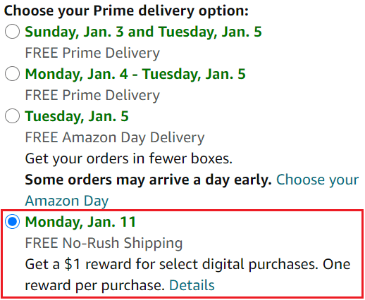 FREE No-Rush Shipping option with red square around selection