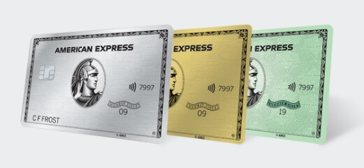 American Express Platinum, Gold, and Green cards