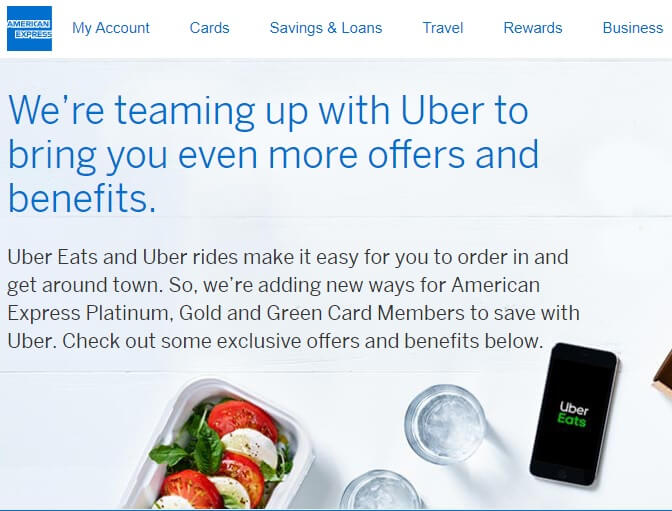American Express and Uber promotion offering 12 free months of Eats Pass