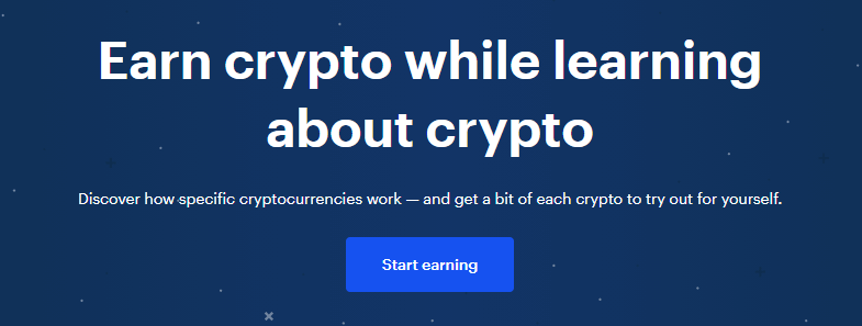 "Coinbase Earn ""Earn crypto while learning about crypto"" landing page"