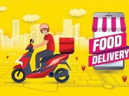 Food delivery app yellow background hero image