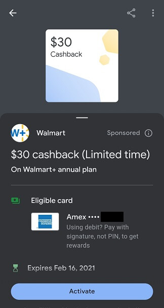 Google Pay Walmart $30 for Walmart+ subscription offer