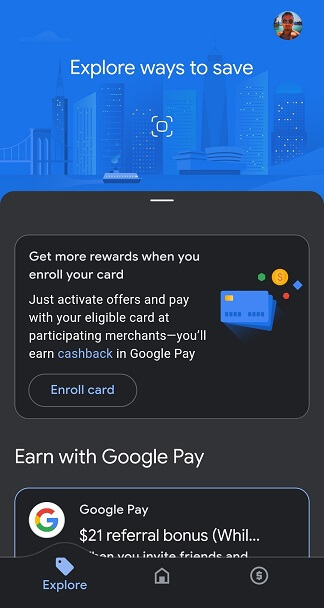 Google Pay 'Explore' tab