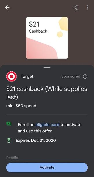 Google Pay Target spend $50 get $21 back offer