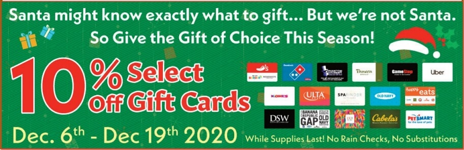 Market Basket 10% off select gift cards banner