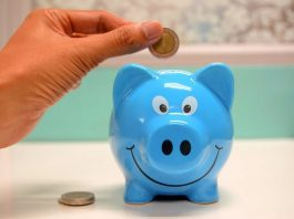 Saving money in blue piggy bank hero image