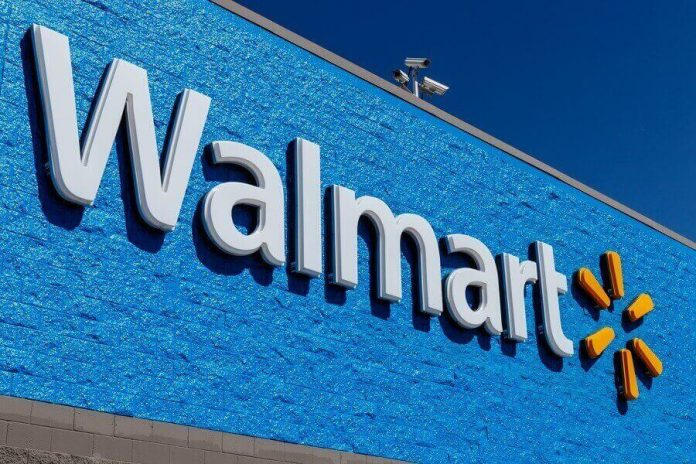 Walmart logo on store building