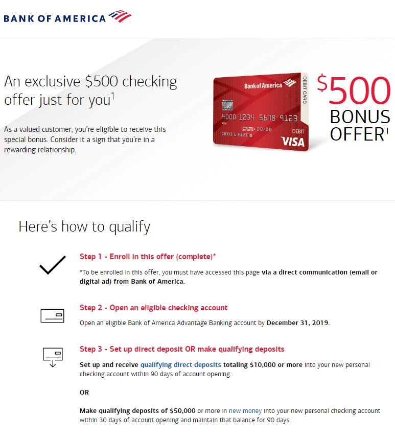 Bank of America $500 checking bonus offer