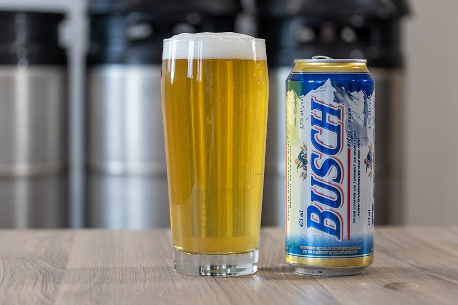 Busch beer and glass of beer on table hero image