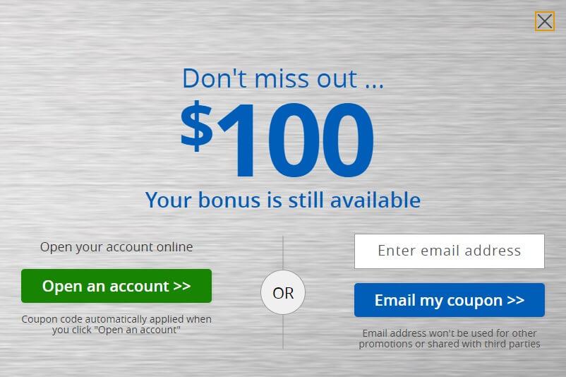 Chase College Checking $100 bonus pop-up