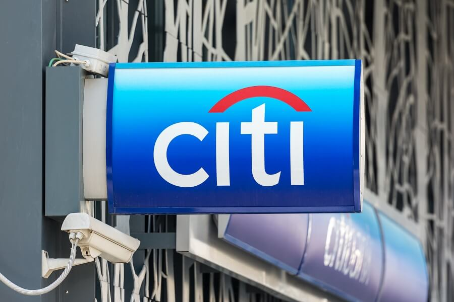 Citi logo on building sign hero image