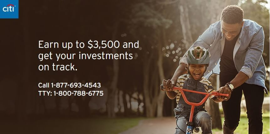 Citi Personal Wealth Management $3,500 bonus landing page