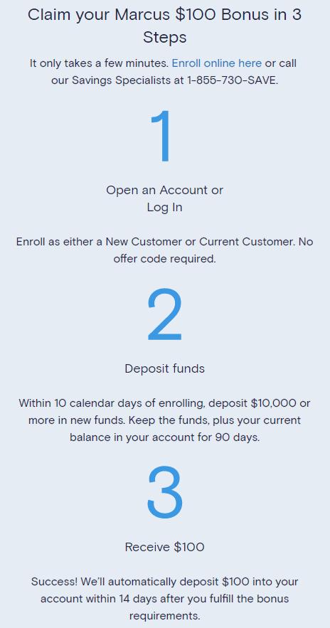 Claim your Marcus $100 bonus in 3 steps