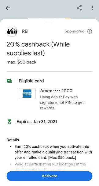 Google Pay REI 20% cash back offer