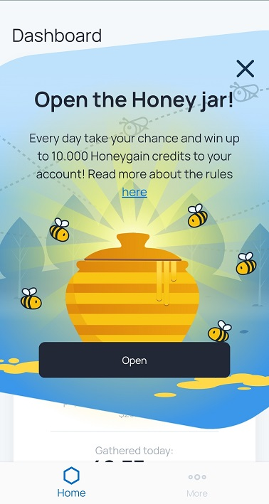 "Honeygain ""Open the Honey jar"" pop-up"