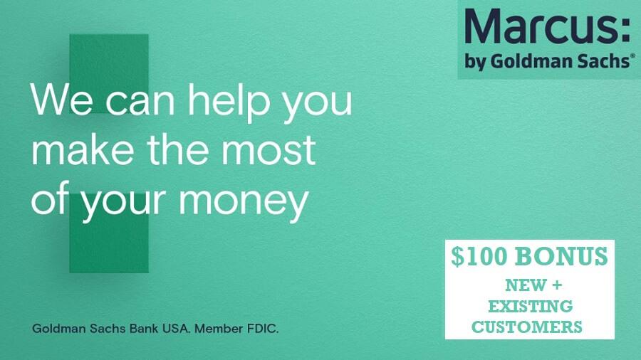 Marcus $100 savings bonus hero image