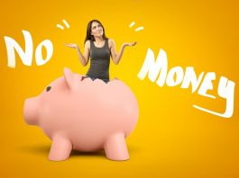 """No Money"" words with woman in an empty piggy bank"