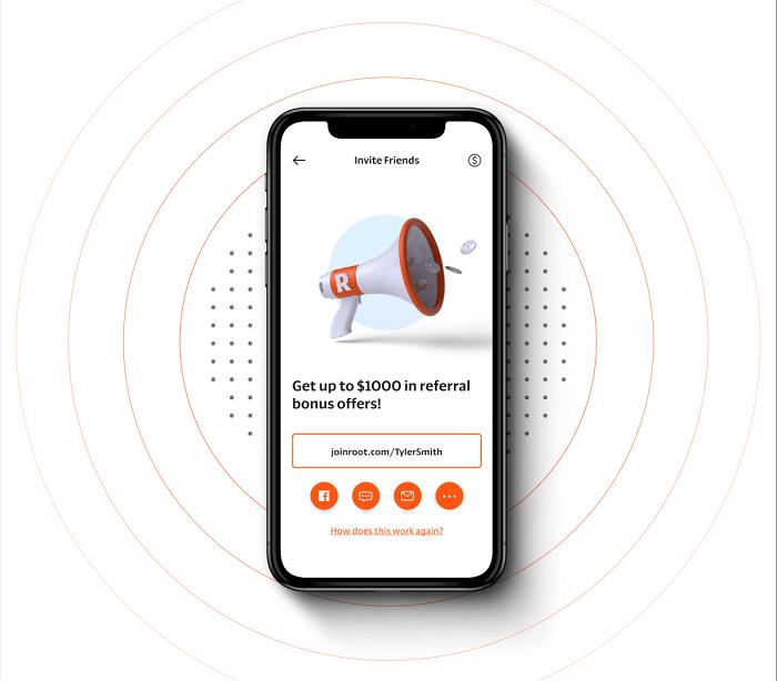 Root Car Insurance $1,000 referrals mobile megaphone ad