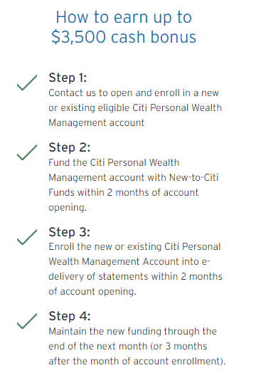 Citi Wealth Management: steps to earn $3,500 cash bonus