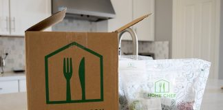 Home Chef meal delivery box opened on kitchen island