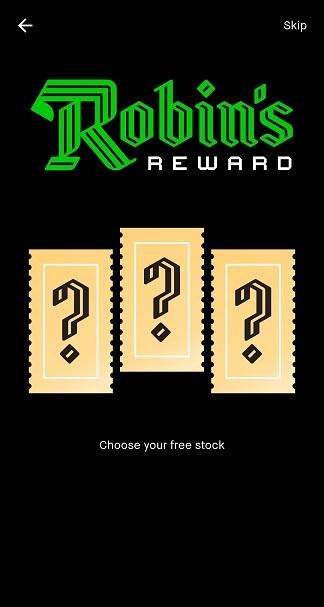 "Robinhood ""choose your free stock"""