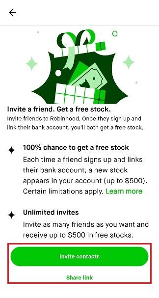 Robinhood referral page screenshot