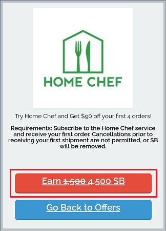 Swagbucks' Home Chef 4,500 SB offer button highlighted