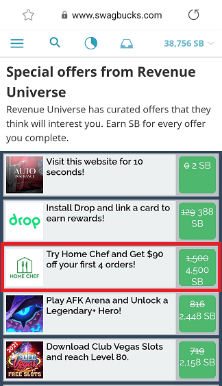 Home Chef offer on Swagbucks' Revenue Universe highlighted