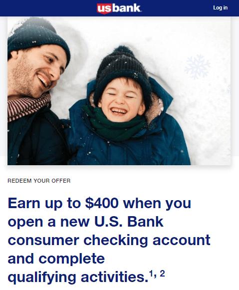 U.S. Bank $400 checking account bonus offer
