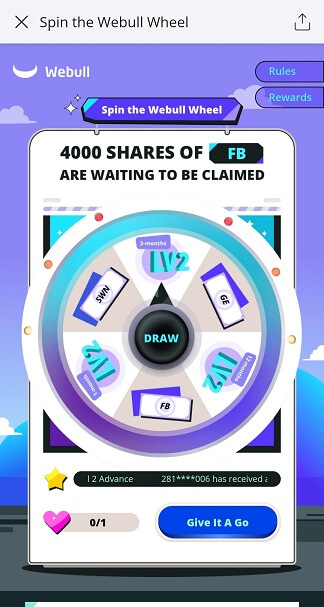 Webull Spin The Wheel Facebook event