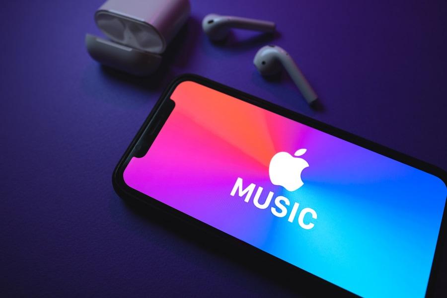 Apple Music logo on phone hero image