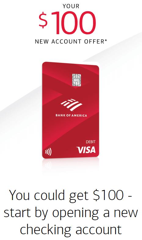 Bank of America $100 checking bonus offer