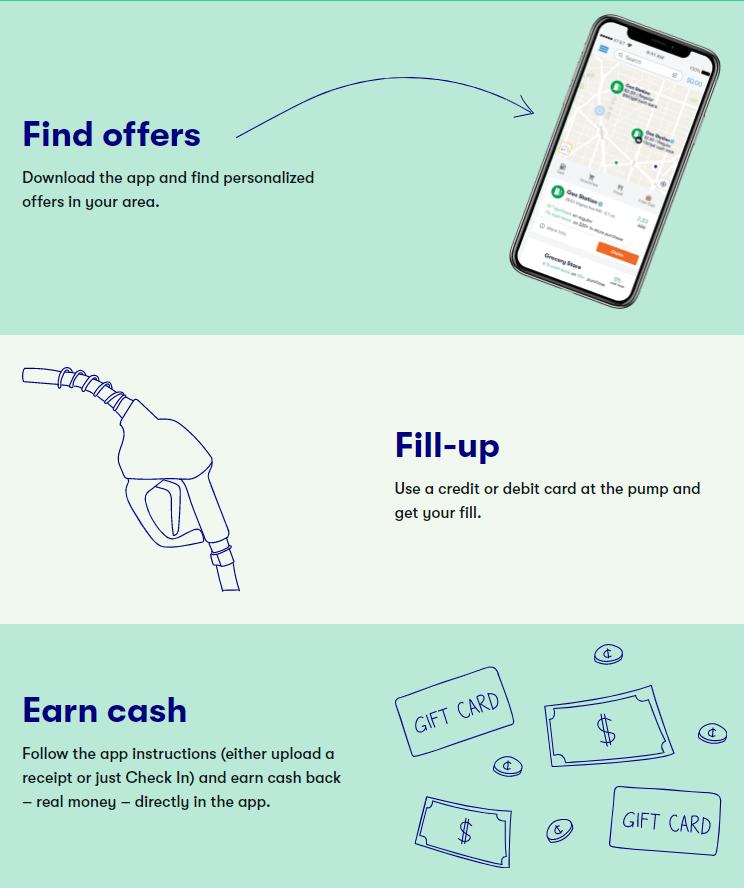 GetUpside steps to earn cash back