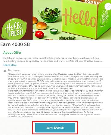 HelloFresh 'Earn 4.000 SB' button highlighted
