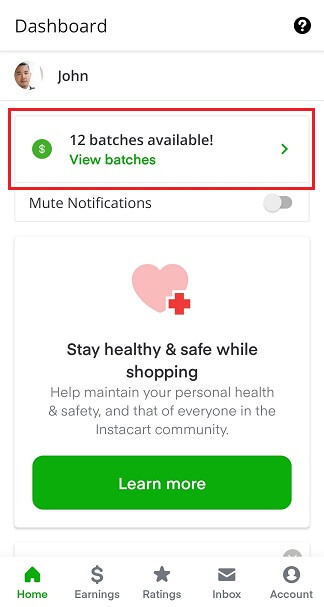Instacart Home screen with batches highlighted