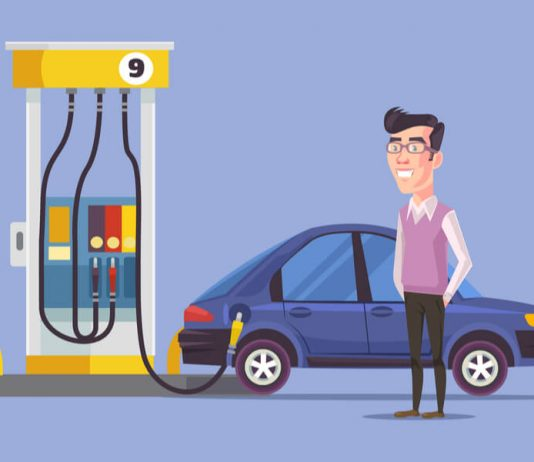 Man getting gas at gas station vector illustration hero image