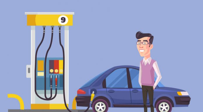 Man getting gas at gas station vector illustration hero image
