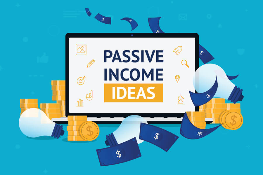 Passive Income Ideas phrase on laptop with money and light bulbs around it hero image