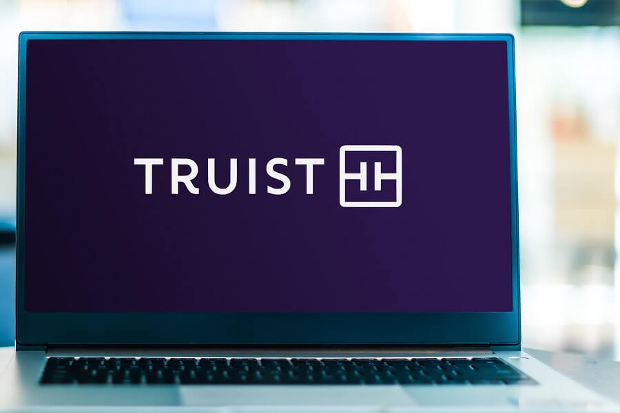 Truist Bank logo on laptop hero image