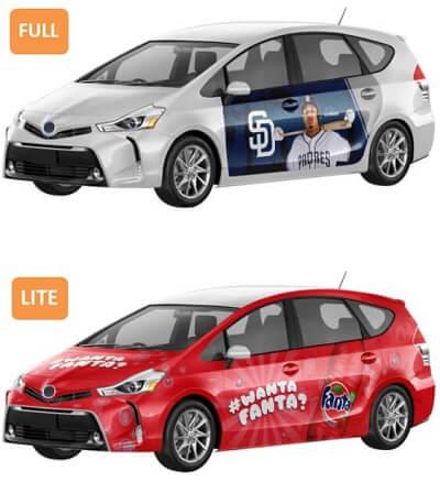 Wrapify full vs lite ad types on car