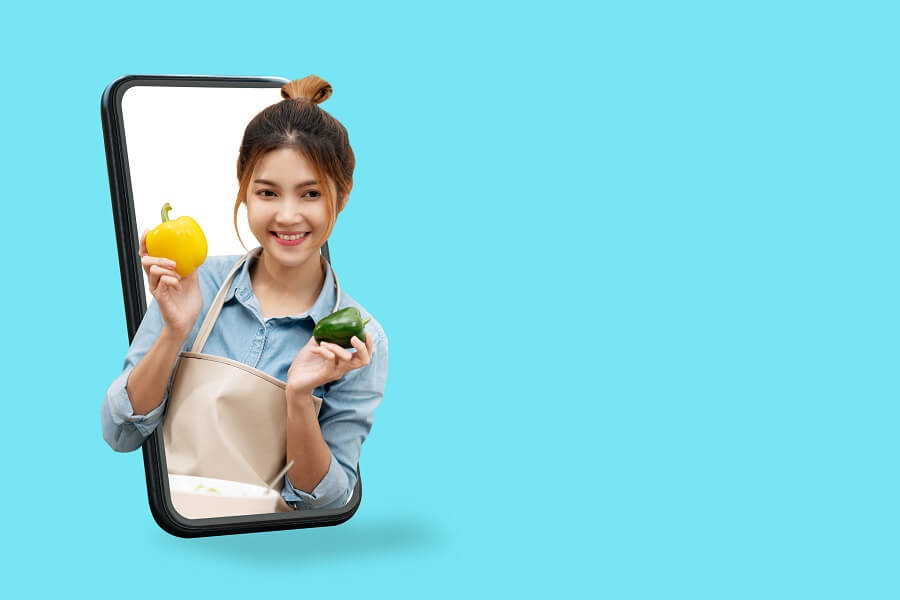 Amazon Explore woman woman with food pop out mobile phone hero image