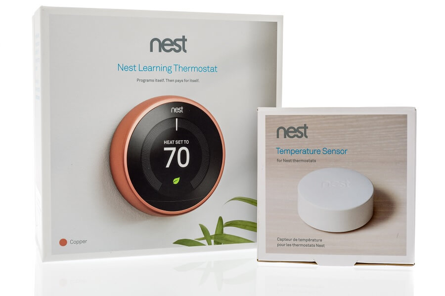 Google Nest Thermostat and Sensor retail boxes
