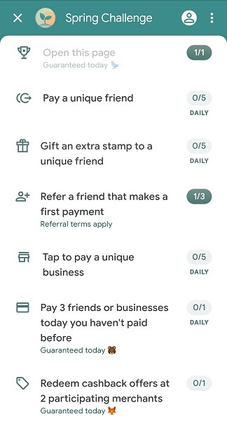 Google Pay Spring Challenge activities